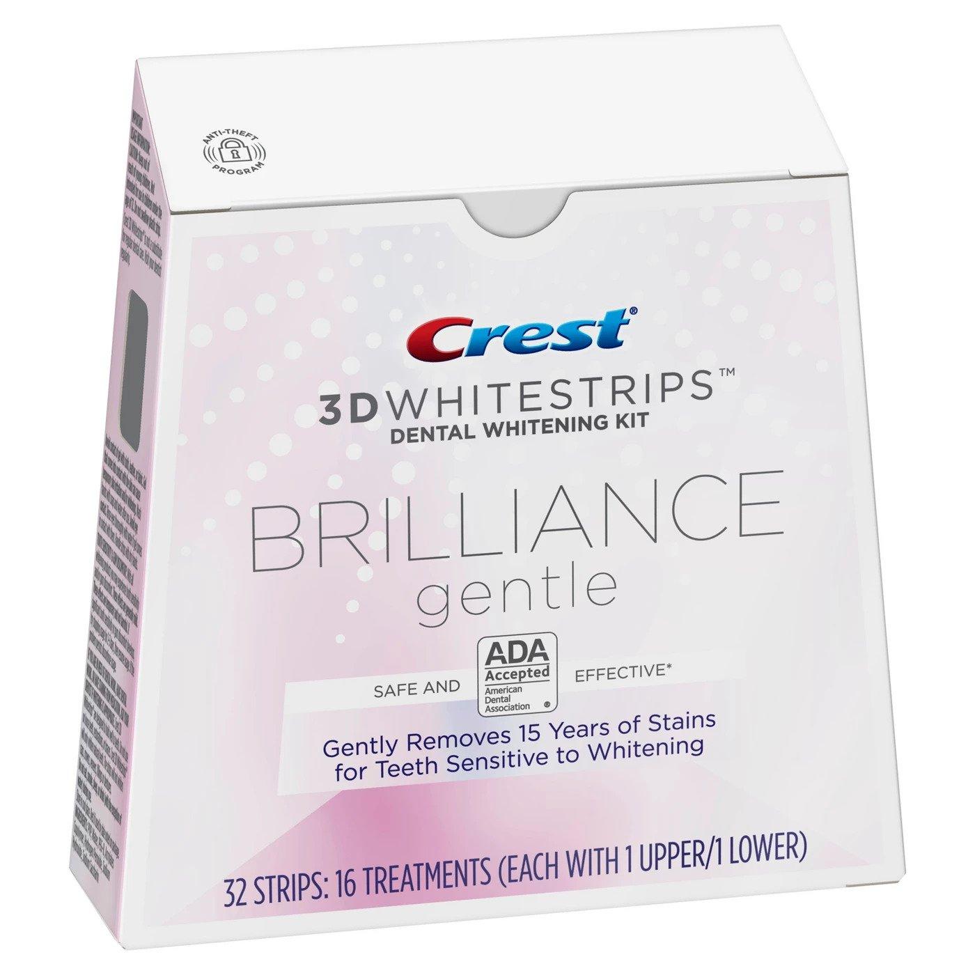 bělicí pásky na zuby Crest 3D BRILIANCE gentle na citlivé zuby